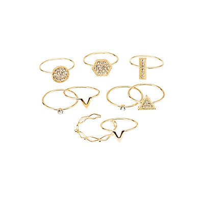 Dainty Stackable Rings - 9 Pack