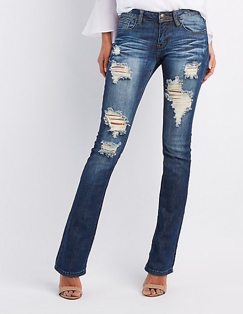Machine Jeans Destroyed Flare Jeans | Charlotte Russe