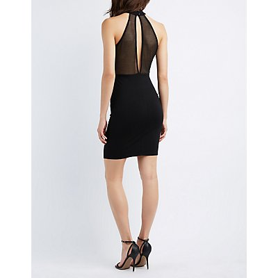 Mesh-Trim Mock Neck Bodycon Dress