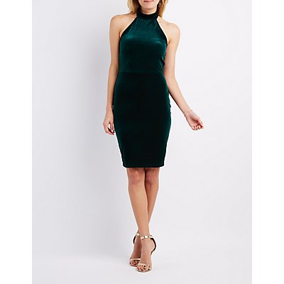Velvet Mock Neck Halter Dress