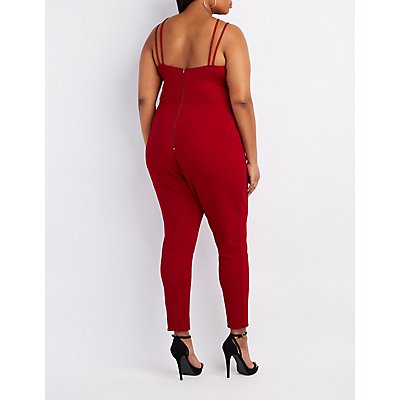Plus Size Strappy Caged Yoke Jumpsuit