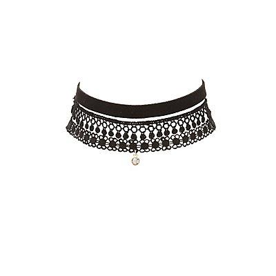 Plus Size Faux Suede & Crochet Choker Necklaces - 3 Pack