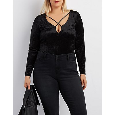 Plus Size Velvet Strappy Bodysuit