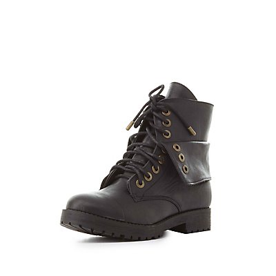 Bamboo Folded Combat Boots