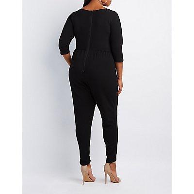 Plus Size Lattice-Front Jumpsuit