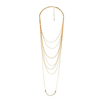 Embellished Mixed Chain Layered Necklace