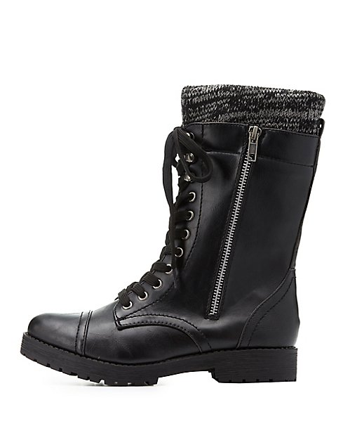 Bamboo Knit-Trim Combat Boots | Charlotte Russe