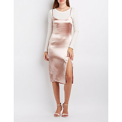 Satin Slip Shift Dress