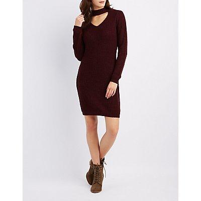 Choker Neck Sweater Dress