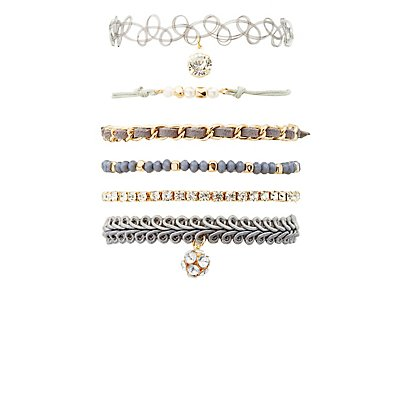 Crochet, Embellished & Tattoo Layering Bracelets - 6 Pack