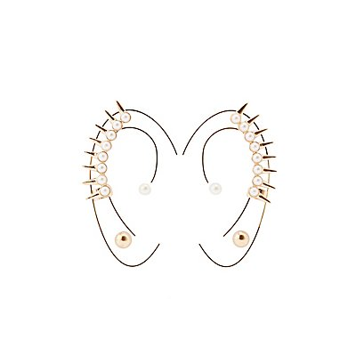 Studded Pearl Ear Crawlers & Stud Earrings Set