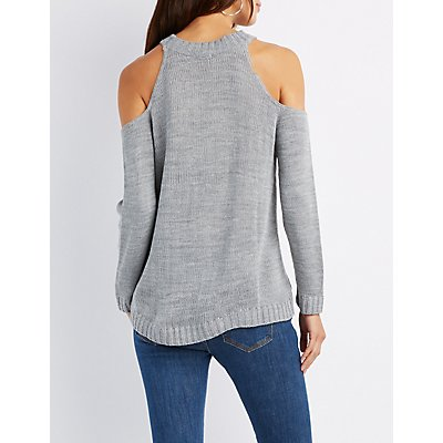 Cold Shoulder Pointelle Sweater