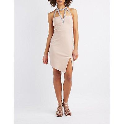 Embellished Halter Neck Bodycon Dress