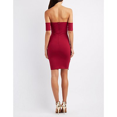 Off-The-Shoulder Asymmetrical Hem Dress