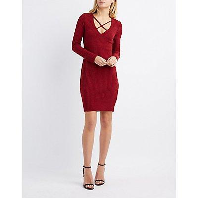 Ribbed Lattice-Front Midi Dress