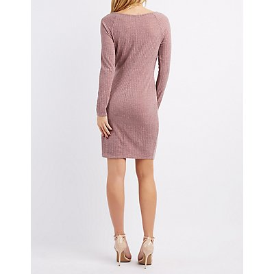 Ribbed Lattice-Inset Bodycon Dress