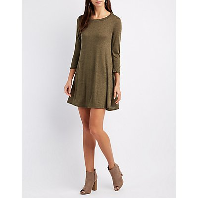 Marled Trapeze Shift Dress