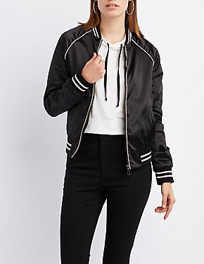 Satin Varsity Stripe Bomber Jacket