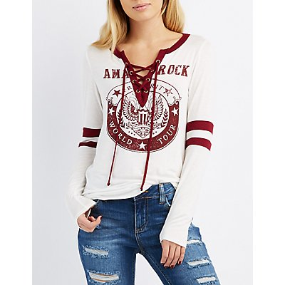 Graphic Lace-Up Varsity Stripe Tee