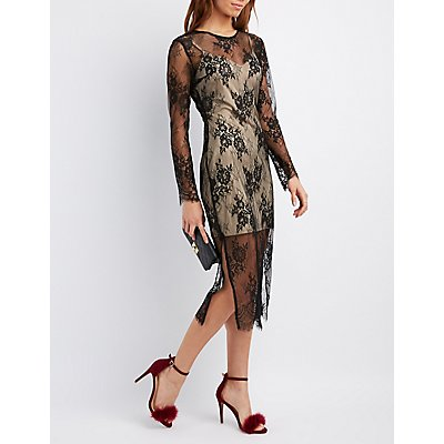 Sheer Lace Midi Dress