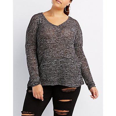 Plus Size Hacci V-Neck Oversized Top