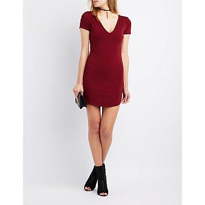 V-Neck Bodycon Dress