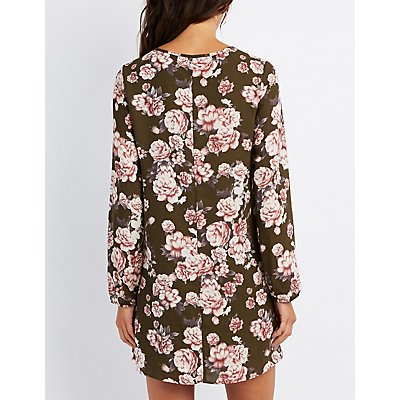 Floral Tie-Neck Shift Dress
