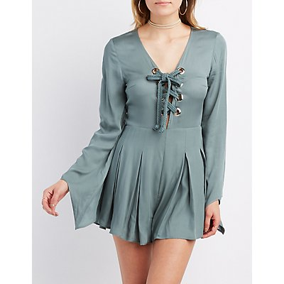 Lace-Up Pleated Romper