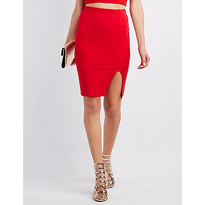Ponte Slit Pencil Skirt