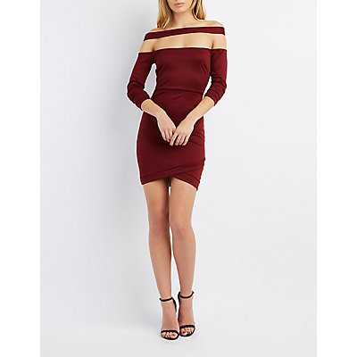 Floating Off-The-Shoulder Bodycon Dress