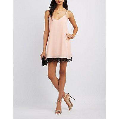 Lace-Hem Slip Dress