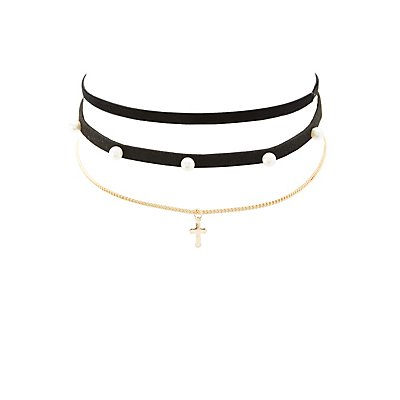 Faux Suede & Cross Choker Necklaces - 3 Pack