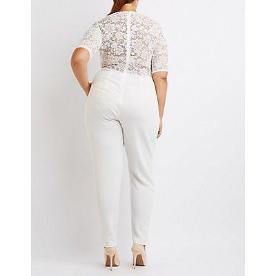 Plus Size Lace Bodice Crochet-Trim Jumpsuit