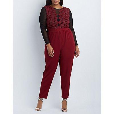 Plus Size Crochet & Mesh Bodice Jumpsuit
