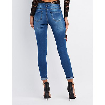 Rose Embroidered Destroyed Skinny Jeans