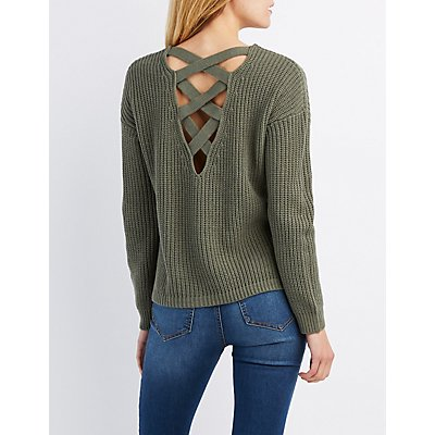 Shaker Stitch Lattice-Back Sweater