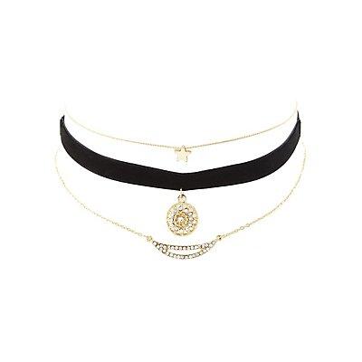 Velvet & Chainlink Choker Necklaces - 3 Pack