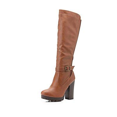 Bamboo Lug Sole Knee-High Boots