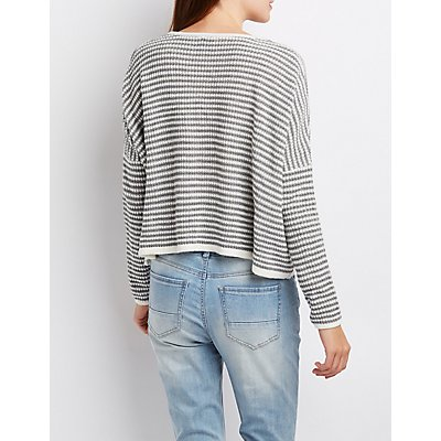 Striped Oversized Cropped Sweater