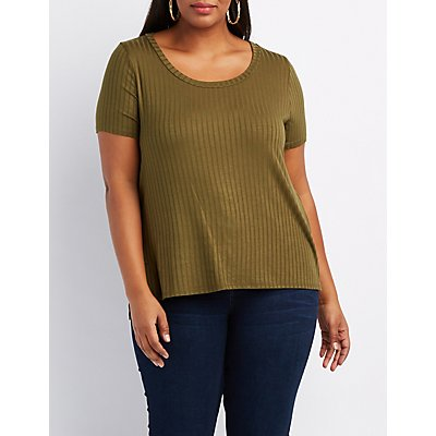 Plus Size Ribbed Scoop Neck Tee