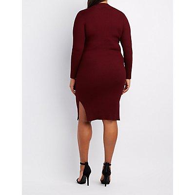 Plus Size Ribbed Turtleneck Cut-Out Dress
