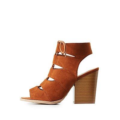 Qupid Lace-Up Slingback Sandals