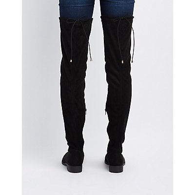 Qupid Drawstring Flat Over-The-Knee Boots