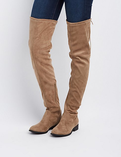 Qupid Drawstring Flat Over-The-Knee Boots | Charlotte Russe
