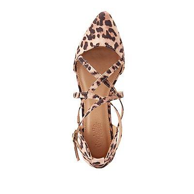 Leopard Cross-Strap D'Orsay Flats