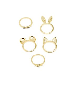 Animal Ears & Rhinestone Rings - 5 Pack