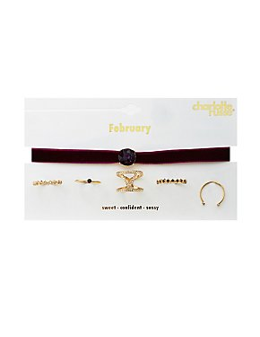February Birthstone Choker Necklace & Rings Set