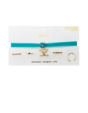 March Birthstone Choker Necklace & Rings Set