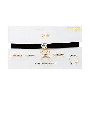 April Birthstone Choker Necklace & Rings Set