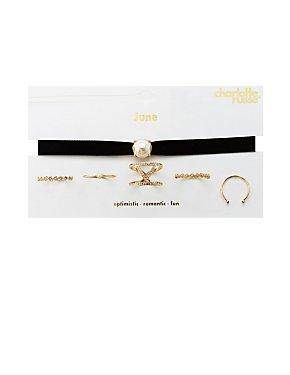 June Birthstone Choker Necklace & Rings Set
